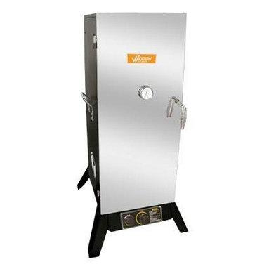 "Weston - Outdoor Propane Smoker 36"" - 36"" Outdoor Vertical Propane Smoker (45.5"" assembled) with Black Powder-Coat Sides & Stainless Steel Door.  Includes 4 Cooking Racks & Sausage Hangers."