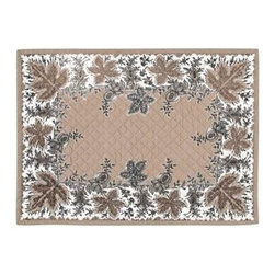 KAF Home - Botanique Flax Quilted Placemat, Set of 4 - This beautiful design traces its origin to 1850 in the French Alps, where pomegranates were considered a symbol of hospitality and good fortune. Derived from a woodblock print on cotton, the botanique placemats are perfect for a more formal setting.