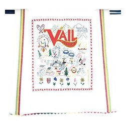 CATSTUDIO - Ski Vail Dish Towel by Catstudio - This original design celebrates Ski Vail.  This design is silk screened, then framed with ahand embroidered border on a 100% cotton dish towel/ hand towel/ guest towel/ bar towel. Three stripes down both sides and hand dyed rick-rack at the top and bottom add a charming vintage touch. Delightfully presented in a reusable organdy pouch. Machine wash and dry.