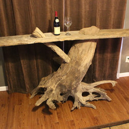 Driftwood Tables - Custom Driftwood Bar. 7 ft long, 43 inches tall. For sale at etsy store Cleverstone.