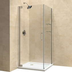 "DreamLine - DreamLine Elegance 34"" by 34"" Frameless Pivot Shower Enclosure - The Elegance shower enclosure combines clean minimal styling with exceptional quality. Opulent 3/8 in. thick tempered glass and a fluid frameless design create a prefect mix of strength and beauty. The corner installation maximizes space and becomes the heart of a bathroom design, while minimal hardware generates an open and airy appeal.  34 in. D x 34 in. W x 72 in. H ,  3/8 (10 mm) thick clear tempered glass,  Chrome or Brushed Nickel hardware finish,  Frameless glass design,  Out-of-plumb installation adjustability: Up to 1 in. per side,  Frameless glass pivot shower enclosure design,  Elegant solid brass pivot mechanism and anodized aluminum wall profiles,  Door opening: 28 in.,  Return panel: 34 in.,  Reversible for right or left door opening installation,  Material: Tempered Glass, Aluminum, Brass,  Optional SlimLine shower base available ,  Tempered glass ANSI certifiedNote: To minimize possible leakage, install shower head opposite of the shower opening pointed toward tiled walls, fixed panels or directly down the floorProduct Warranty:,  Limited 5 (five) year manufacturer warranty"