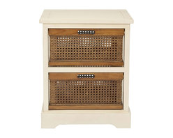 Safavieh - Safavieh Jackson 2 Drawer Storage Unit X-A3056HMA - The British Colonial inspired Jackson two-drawer storage cabinet in cream painted pine offers a relaxed vibe and generous storage with its amber-toned cane baskets with cutout handles for easy access. Some assembly required.