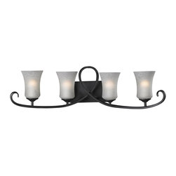 Z-Lite - Z-Lite 603-4V Arshe 4 Light Up Light Bathroom Fixture - From Z-Lite's Arshe Collection, featuring a metal frame, glass shade and modern lines highlight this four light vanity light from the Arshe Collection.