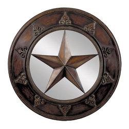 Aspire - 32 in. Star Plaque Wall Mirror - This large plaque features a five-point star as the focal point over a mirror background. Fleur de lis shapes decorate the edges of the metal frame. Metal. Color/Finish: Brown. 32 in. H x 32 in. W x 4 in. D. Weight: 14 lbs.