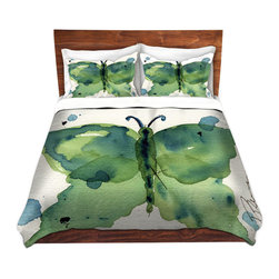 DiaNoche Designs - Duvet Cover Microfiber King from DiaNoche Designs by Dawn Derman - Moth III - DiaNoche Designs works with artists from around the world to bring unique, artistic products to decorate all aspects of your home.  Super lightweight and extremely soft Premium Microfiber Duvet Cover (only) in sizes Twin, Queen, King.  Shams NOT included.  This duvet is designed to wash upon arrival for maximum softness.   Each duvet starts by looming the fabric and cutting to the size ordered.  The Image is printed and your Duvet Cover is meticulously sewn together with ties in each corner and a hidden zip closure.  All in the USA!!  Poly microfiber top and underside.  Dye Sublimation printing permanently adheres the ink to the material for long life and durability.  Machine Washable cold with light detergent and dry on low.  Product may vary slightly from image.  Shams not included.