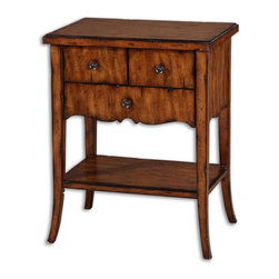 Uttermost - Carmel Old Barn Distressed Wood End Table with Drawers - This  rustic   finish  end  table  will  add  a  beautiful  warm  wood  tonality  to  your  decor  with  its  rich  carmel  wood  stain  finish.  Includes  three  high  quality,  dovetailed  drawers  with  rustic  pewter  finished  handles.  Veneer  is  distressed  Primavera.  Some  assembly  required.
