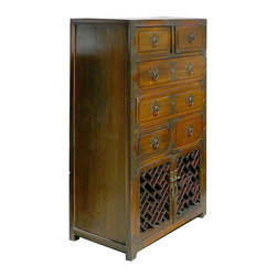 Golden Lotus - Korean Brass Hardware Deco Dresser Storage Side Cabinet - This is a Korean dreasser that has six drawers and one shelf. This piece is surrounded by many beautiful brass strips. It was made in China by a Korean-run factory.  You can also use this piece as a storage side cabinet.