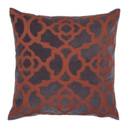 """Z Gallerie - Benito Pillow 24"""" - Our exclusive stylish orange/charcoal Benito Pillow adds dramatic color and a striking pattern to furniture pieces, an easy update to enhance your decor. We've combined a vibrant orange cotton percale appliqued design with a sophisticated charcoal cotton velvet background to create this chic pillow, and finished it with a cotton backing and hidden zipper. The generously sized 24 inch square pillow is filled with a sumptuous feather and down insert."""