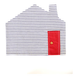 House Placemat - Blue Stripe - This cute placemat in blue and white stripes with a red door will make anyone smile at breakfast time!