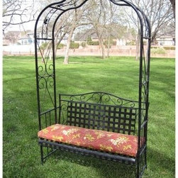 International Caravan Black Antique 7.25-ft. Iron Arch Arbor with Bench - Option - With its excellent craftsmanship and inviting design the International Caravan Black Antique 7.25-ft. Iron Arch Arbor with Bench - Optional Cushion will make a lovely addition to your deck patio garden or yard. This antiqued black bench features a beautiful timeless design of wrought iron straps arranged in a square lattice pattern. The front of the seat curves gently toward the ground to ensure comfortable seating. The gothic-style arbor arches over the bench to create an intimate space in any outdoor setting. The arbor features vertical bars near the base elegant scrolls and fanciful leaf accents throughout the arching frame.The Iron Black Antique Arbor Bench goes through an extensive finishing process to ensure that you receive a product that will retain its beauty for years. The base coat of this arbor bench is applied via electrophoresis. It is dipped in a tank of special electrophoretic paint solution and an electric current is run through it causing the charged paint particles to attract to the iron. The arbor bench is removed and hung to dry. It is then baked in an oven at high temperatures. Finally it is powder coated and baked a second time. The end result is an extremely durable and weather-resistant finish that will look like new season after season.