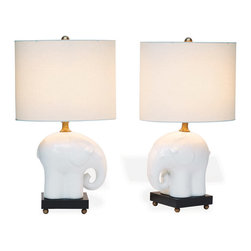 """Kathy Kuo Home - Bambino Baby Elephant Porcelain Wood Children's Room Lamp- 25""""H - Modern Fun!  Our Bambino Lamp is a touch of humor for your interior."""