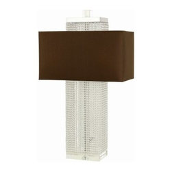 Candice Olson Casby Table Lamp - 17W in. - With its geometric form and body covered in clear glass beads, the Candice Olson Casby Table Lamp - 17W in. adds a unique, modern touch to your home decor. This table lamp has a chocolate rectangle shade, and uses two 60-watt bulbs (not included).About AF LightingAF Lighting has been among the leading manufacturers of impressive and distinctive lighting designs since 1987. Its goal is to maintain affordability and value even while offering you the latest in style and interior fashion. Headquartered in Pompano Beach, Fla., AF Lighting has showrooms across the country and offers over 800 products through various furniture stores, websites, and interior designers. In 2005, AF Lighting partnered with Candice Olson of HGTV's Divine Design to produce an exclusive lighting collection personally designed by Candice. It's just one example of how AF Lighting is working to bring you the most up-to-date styles for your home.