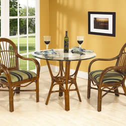 Boca Rattan - Amarillo Rattan Cafe Table Set in Urban Mahog - Fabric: 641Set includes 2 arm chairs and cafe table. Table glass top and cushions included. Indoor use only. Bevel glass table top. Leather binding. Constructed from strong and durable rattan. Arm chair: 23.5 in. W x 22.75 in. D x 37 in. H (20 lbs.). Cafe table: 24 in. L x 24 in. W x 29 in. H (40 lbs.), Glass top: 36 in. Dia.