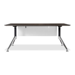"""Jesper Office - 300 Computer Desk with Modesty Panel - Features: -Computer desk with modesty panel. -300 Collection. -Steel base. -Modern design. -Height adjustable feet. -Non scratch surface. -Wire management. -Durable work top. -Commercial grade. -Manufacturer provides 5 years warranty. -Overall dimensions: 29"""" H x 71"""" W x 35"""" D."""