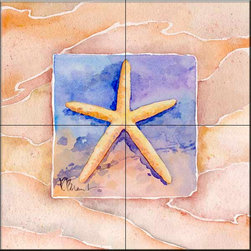 The Tile Mural Store (USA) - Tile Mural - Summer Starfish  - Kitchen Backsplash Ideas - This beautiful artwork by Paul Brent has been digitally reproduced for tiles and depicts a nice shell in the summer series.    Tile murals with shells and decorative shell tiles are timeless and are excellent to add to your kitchen backsplash tile project or your tub and shower surround bathroom tile project. Images of sea shells on tiles add a unique element to your tiling project and are a great kitchen backsplash idea for a coastal home. Use a shell tile mural for a wall tile project in any room in your home where you want to add interest to a plain field of wall tile. Bathrooms always look best with the addition of decorative wall tiles so why not add decorative tiles with images of shells?