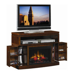 Coaster - Media Mantel Electric Fireplace in Mahogany F - Traditional style. Simple to set up and easy to use. Open center cubbyhole shelf for media players. Sizable top creates room for most televisions. Two front corners extend outward to reveal further media storage space. Adjustable shelves. Integrated wire management. Powered by normal home electric outlet. Intricate carved details. Solid hardwood moldings. 26 in. insert and wall mantel. Made from first quality solid hardwoods and wood veneers. 47 in. W x 19 in. D x 35 in. H. WarrantyCreate warmth, light, and soothing ambiance in your home with this electric fireplace and media console combination. Create energy efficient and homey warmth in the living room in your home with this simple, functional, and gorgeous fireplace.