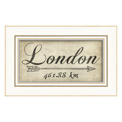 "The Artwork Factory - ""London"" Print - Lovely looping script and a jaunty arrow mark the path to jolly old England in this artfully framed, ready-to-hang print. It's a vintage touch for your walls that's so posh, it'll make London feel much closer than 287 miles (461.88 km) away."