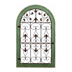 UMA - Antiquities Lily Wall Grill - An arch shaped wall grill with a gray outer frame; brown metal grille features fleur de lis patterns in a repetitious arrangement