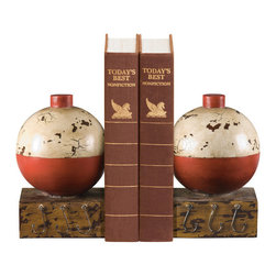 Sterling Industries - Sterling Industries 93-9262 Sterling Pair Of Fishing Bobber Bookends - Any Fishing Enthusiast Will Appreciate This Pair Of Fishing Bobber Bookends By Sterling. These Make A Splendid Desk Accessory And Will Help Keep Order While Adding A Touch Of Style To A Coastal Living Themed Decor. Each Bookend Features A Red And White Bobber In A Distressed Finish Plus (3) Hooks. Your Fisherman Will Reminisce About Those Long Days Spent On The Water Patiently Waiting To Catch The Perfect Fish. The Bookends Will Look Great On A Book Shelf In The Living Room, Bedroom, Home Office Or Library. The Bookends Measures 9 Inches Long X 4.5 Inches Wide X 6.5 Inches Tall. Sold As A Pair.   Bookend (2)