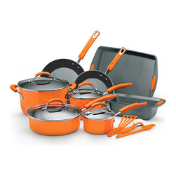 Rachael Ray - Rachael Ray Orange Hard Enamel 15-piece Cookware Set - The Rachael Ray 15-piece cookware set offers an exceptional cooking experience while retaining a unique and colorful design. The hard enamel exterior is beautiful and functional,providing quick and even heat distribution with a durable finish.