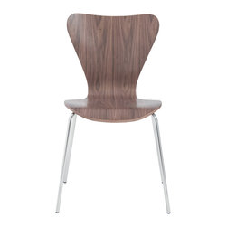 Eurostyle - Tendy Side Chair (Set Of 4)-Wal/Chr - Form and function meet flawless to create these retro side chairs. Resembling a human-shaped figure, the design offers a waterfall seat providing the perfect support for your back and legs. You can even stack them to effortlessly store away.