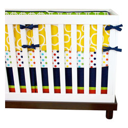 "Modified Tot - Baby Bedding Crib Set, Super! - For your modern little Super Hero! Featuring yellow, lime green, navy and red this crib set is sure to brighten his nursery. The three piece set includes bumpers with hand-stitched fabric ties and contrasting piping, a fitted sheet with elastic all the way around and a four-sided skirt with a 15"" drop. Bumpers are created in six separate pieces for easy transition to a toddler bed, they measure 1"" thick and 10"" high. All items are proudly made in the USA. All products are made to order."