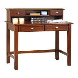 HomeStyles - Hanover Student Desk in Cherry Stain Finish - This student desk is also an adult favorite that's easy to set up for computer use, too. Classic design is perfect for a den, an office or even for display in a living room. Hutch adds organization space with two drawers and open shelving for smaller items. * includes desk and hutch. Desk has two easy glide drawers. Minimal assembly required. Hutch has two drawers. Open storage. Wire management opening. No assembly required. Desk: 30.25 in. W x 54 in. D x 28 in. H. Hutch: 9.75 in. W x 54 in. D x 11 in. HThe Hanover Student Desk and Hutch makes a wonderful addition to a room in need of extra workspace. Multi-step cherry finish including a clear coat finish to help guard against wear and tear stemming from normal use.