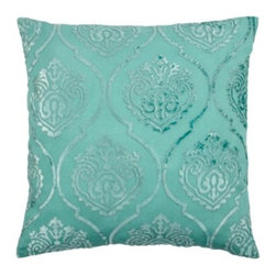 "Z Gallerie - Andora Pillow 26"" - The design of our aquamarine Andora Pillow was inspired from antique damask. The intricate embroidery is created when the velvet is cut in the shape of the design and then placed over the fabric and the embroidery follows the design. The pillow is 100% linen and the appliqué is 100% viscose and filled with a plush polyester fiber/feather/down insert and measures a generous 26 inch square."