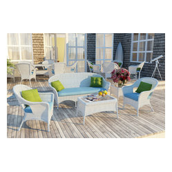 5 PC Rockport Outdoor Wicker Set , White