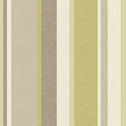 Brewster Home Fashions - Keene Green Linen Stripe Wallpaper Bolt - This green and grey wallcovering adds a touch of crisp linen detail to your bath space with a stripe design featuring varying band widths and shimmering pearlescent effects.