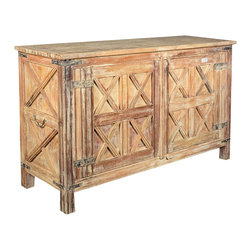 Sierra Living Concepts - Rustic Reclaimed Wood Dallas Ranch Branded X Buffet Storage Cabinet - Wood bleached over time and the Branded X work together to create a cabinet that is reminiscent of the American West.