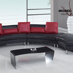 Global Furniture - 919 3Pc Ultra Bonded Leather Sectional in Black with Red Pillows - 919 3Pc Ultra Bonded Leather Sectional in Black with Red Pillows