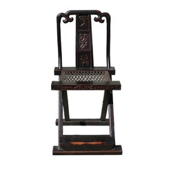 Golden Lotus - Chinese  Folding Chair with Relief Carving and Footrest - You are looking at a Chinese vintage folding chair with relief Carving and footrest. This is a simple but decorative chair for home decoration.