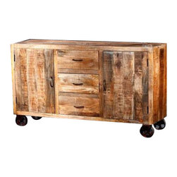 """YOSEMITE HOME DECOR - Sideboard - Nature at its best!! A simple, minimalist but stunning solid mango accent cabinet. The soft textured cabinet is accented with aged metal handles and cast iron wheels. Three center drawers and two inner mango shelves provide ample storage space. Assemble, made in India.  Overall Item Dimension 58""""Wx16""""Dx34""""H"""
