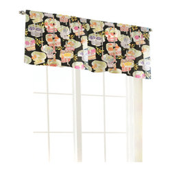 """Room Magic - Day of the Diva Valance - Teen girls will die for this valance in colorful print with flowered skulls and glitter against a black background. 15"""" H x 58"""" W"""