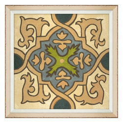 Wendover Art - Garden Tile Cream - This elegant Giclee on Paper print adds a bit of flare to any space. A beautifully framed piece of art has a huge impact on a room for relatively low cost! Many designers and home owners select art first and plan decor around it or you can add artwork to your space as a finishing touch. This spectacular print really draws your eye and can create a focal point over a piece of furniture or above a mantel. In a large room or on a large wall, combine multiple works of art to in the same style or color range to create a cohesive and stylish space!