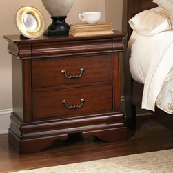 Liberty Furniture Industries - Carriage Court Nightstand - Mahogany Brown - 709-BR61 - Shop for Nightstands from Hayneedle.com! Two generous and one hidden drawer plus a Louis Philippe design make the Carriage Court Nightstand - Mahogany a luxurious bedside companion. Premium construction includes solid pine and cherry veneers in a rich Mahogany finish. The two large drawers offer classic storage. The smaller felt-lined top drawer is tucked within the generous molding. Antique brass bail pull hardware and detailed feet add to the style of this nightstand.About Liberty FurnitureEstablished in 1993 Liberty Furniture Industries Inc. had seven employees and manufactured wood chairs and laminate table tops in a modest section of a warehouse in west Atlanta. Over the years its scope has widened to include formal and casual dining furniture accent furniture and bedroom furniture. It now operates out of three main facilities in Atlanta one brand-new facility in Chicago and its first Asian office. As Liberty continues to grow it searches for more ways to expand and offer more of what its customers want. Liberty is now one of the premier leaders in manufacturing and delivering quality furniture at exceptional value. Through its growth it has remained a strong family-oriented business that never compromises its values of dedicated customer service a relentless pursuit of quality and a devotion to enriching lives of its employees its customers and its community.