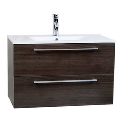 "CBI - ConcepBaths Caen 32"" Wall-Mount Modern Bathroom Vanity Set Grey Oak RS-DM800 - Wall hung bathroom vanity is the space-saving solution with style. Ideal for compact city homes, this European styled bathroom vanity frees up valuable floor space by being mounted to the wall, resulting in a larger looking bathroom with more fuctional design. This wall hung vanity features German made scratch-resistant grey oak finish, Grasshopper soft-closing drawers with damping technology, and a crisp clean integrated porcelain sink."