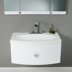 """Fresca - Fresca Energia 36"""" Modern Single Sink Vanity Set w/ Three Panel Folding Mirror - This vanity can fit anywhere. At 36"""", this vanity is ideal for adding some brightness or funk to your bathroom with its bright white color. Ingenious basin design is brought together with a large, tri-hinged mirror- a great addition to catch those hard-to-see spots for that perfect shave or see all angles before putting down that mascara for a night out on the town. That mascara and shaver rest in a clever, handsome, and chic storage solution underneath. An ensemble that is sure to be a delight in function and in sleek design that really shines through in its simplicity from hardware to design."""