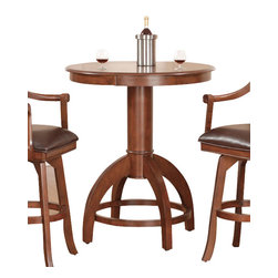 Hillsdale Furniture - Hillsdale Palm Springs 36x36 Bar Table - The Hillsdale Palm Springs 36X36 bar table is a masterpiece that will complement any Pub or gaming area in your home. Designed to stand 36 inches high to accommodate a variety of different bar stools, the table also has a 36 inch round table top. The bar table is made from wood and finished in a medium cherry color. This bar table will complement any area and is perfectly matched to other-pieces in the Palm Springs collection.