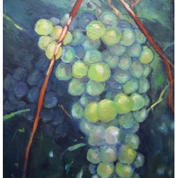 """Bounty By Carol Schiff"" (Original) By Carol Schiff - I Was Enjoying A Summer Afternoon At A North Carolina Winery, Strolling Past The Mountain Stream, And Gazing At The Grape Vines Planted Half Way Up The Mountain.  As  I Crossed The Bridge Over The Stream, I Stopped To Take Photographs Of The Grapes, Hanging Heavily, And Sheltered Deep Within The Vines."