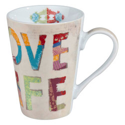 Konitz - Love Life Mugs, Set of 2 - Love Life. Consider this set of two mugs your daily mantra. Inspirational mug features a beige background with a multicolored message.