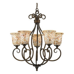 Quoizel Lighting - Five Light Up Light ChandelierMonterey Mosaic Collection - For over seventy years, Quoizel lighting has been dedicated to the design and production of its diversified line of fine lighting products and home accessories.