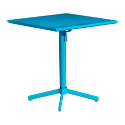 Zuo Modern - Zuo Modern Big Wave Outdoor Folding Square Dining Table X-340307, Aqua - Add color to any outdoor space with the Big Wave folding table. Made from 100% epoxy coated steel durable for any climate. Table folds up for ease of storage when Not in use.