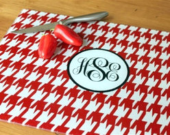 Clairebella Monogram Cutting Board, Houndstooth - Even your counter tops can be decked out in style. Bring some preppy to your prep work with the always-elegant houndstooth and monogram.