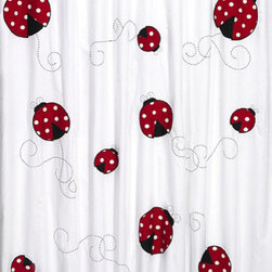 """Sweet Jojo Designs - Little Ladybug Shower Curtain - The Little Ladybug Shower Curtain is a great way to make over your child's bathroom. Add a designer's touch and some fun colors to your bathroom with this lovely Shower Curtain.  The Shower Curtain measures 72"""" x 72"""" and is machine washable. Shower hooks and liner are not included."""