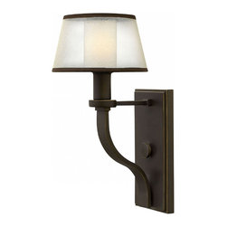 Prescott 1 Light Wall Sconce - %The Prescott 1 Light Wall Sconce by Hinkley Lighting invites you with encompassing subtle organic forms, natural hues and surfaces. The Prescott collection offers a unique modern, vintage feel with a traditional frame, knob detail and wide tubing. A wide, low-profile organza shade surrounds the etched opal inside glass, infusing transitional design elements to create the perfect balance between classic and contemporary. A Olde Bronze finish comes with the Prescott 1 Light Wall Sconce for an appealing appearance. Maximize the beauty of your interior design with the style and distinction of the Prescott 1 Light Wall Sconce.