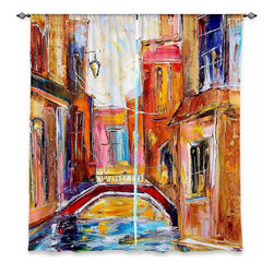 "DiaNoche Designs - Window Curtains Unlined - Karen Tarlton Venice Magic - DiaNoche Designs works with artists from around the world to print their stunning works to many unique home decor items.  Purchasing window curtains just got easier and better! Create a designer look to any of your living spaces with our decorative and unique ""Unlined Window Curtains."" Perfect for the living room, dining room or bedroom, these artistic curtains are an easy and inexpensive way to add color and style when decorating your home.  The art is printed to a polyester fabric that softly filters outside light and creates a privacy barrier.  Watch the art brighten in the sunlight!  Each package includes two easy-to-hang, 3 inch diameter pole-pocket curtain panels.  The width listed is the total measurement of the two panels.  Curtain rod sold separately. Easy care, machine wash cold, tumble dry low, iron low if needed.  Printed in the USA."