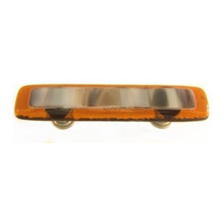Uneek Glass Fusions - Amber and Stone Glass Drawer Pull - Collection: Strato