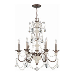 """Crystorama - Malibu Chandelier - Chandelier Handpainted Aged Ivory and English bronze with delicate Crystal Accents. Takes 6 - 60 w/c bulbs. Chain: 72"""" Wire: 120"""""""